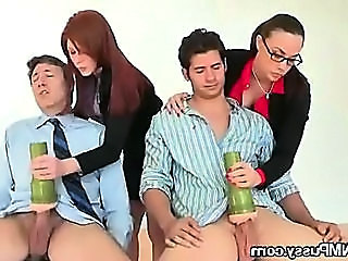 Two Office Secretaries Having Fun With Two Long dicks