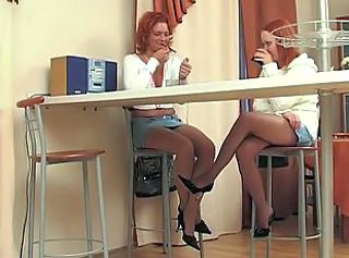 Euro Redhead Dykes Lick Twat On Cookhouse Floor
