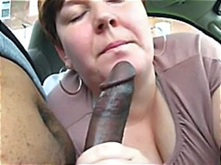heavy older  gives this black pauper a nice blowjob