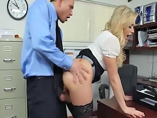 Blonde scrivener Mia Malkova gets ass licked by her boss