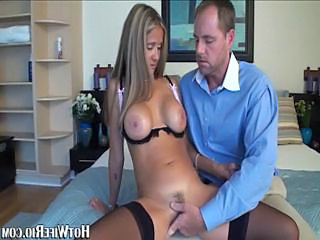 Whorish blonde milf in sexy black underthings gives her hubby ...