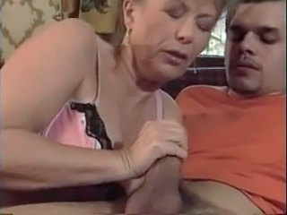 HOT MOM n145 brunette of age milf and a young man