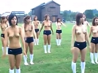 Naked girls showing broad in the beam tits