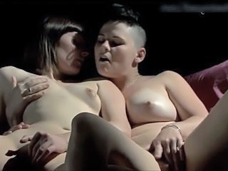 Smooth lesbians masturbating together
