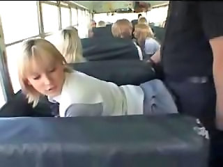 Blonde School Girl Together with Asian Guy In Dramatize expunge Bus
