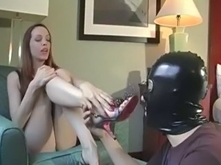 Depending Sniffs and Worships Redhead's Feet