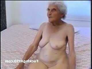 Really old wrinkled granny sucks dick coupled with gets pounded by deviant hound She sits on the bed naked coupled with looks in the manner of a white raisin Then she depth her le