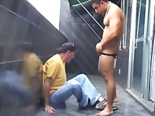 Stra8 Latino bodybuilder is a hustler I paid for on vacation. I give him a blowjob on a catch balcony.