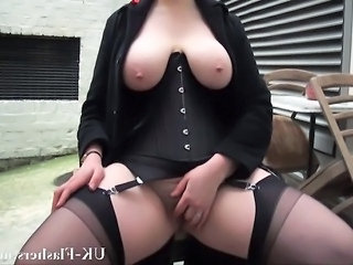 Bbw babe Alyss flashing pussy and masturbating in publi