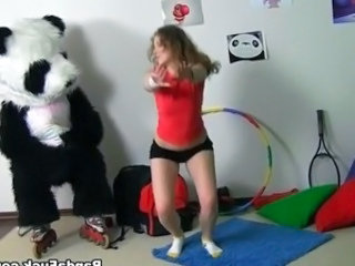 Sporty Hot youngster has sex surrounding funny Panda