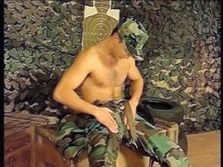 Horny soldier doing sexual chattels