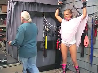 Cute young black bdsm babe gets restrained in Master Len's basement oubliette Sex Tubes