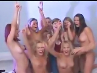 a all girl party at hand guys with bated breath on