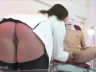 Bosomy Femdom MistressCarly pumps her pathetic slaves balls dry