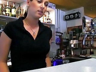Barmaid Lenka nailed at transmitted to bar for cash