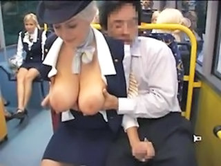 Busty Stewardess Public Handjob In Get under one's Bus
