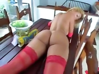 Brazilian showing her broad in the beam booty!!!