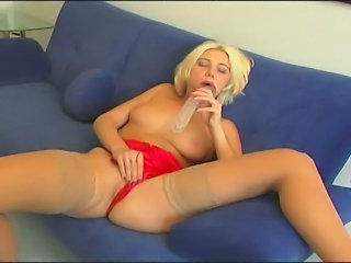 Horny Tow-headed German MILF experiments someone's skin ultimate satisfaction as she toys...