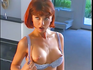 Redhead less bodystocking and ill-lit dildo fucking
