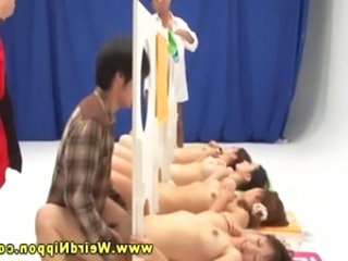 Gameshow Asian babes fucked in their grasping pussys from guys