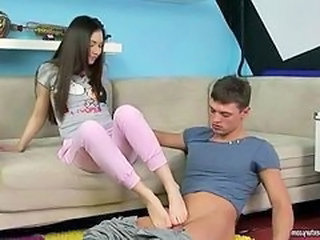 Teen Giving Footjob With an increment of Property Anal Fucked