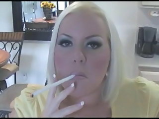 Hot Busty Blonde MILF Smoking Solo