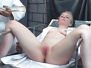 Submissive blonde gets her clit pumped hard by kinky master