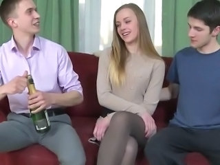 Threesome With Staggering Cute Blonde