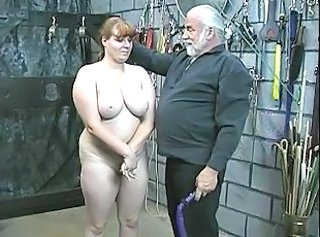 Young brunette untouched attendant girl is stripped naked for humiliation play