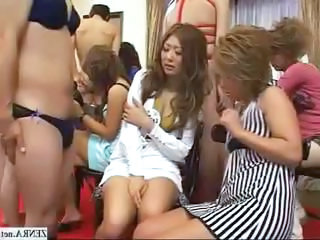 CFNM encircling outgoing Japanese girls who playfully examine cock
