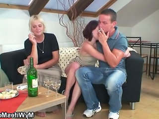 Drunk Orgy With Piping hot Granny And Her Lassie In Pretend