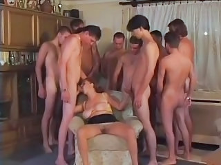 Dominate Granny Gangbanged By 9 Lads