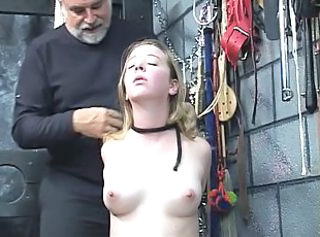Dude takes vibrator to young bondaged blonde's pale shaved pussy _: bdsm adolescence blondes pair