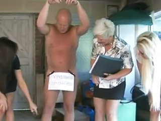 CFNM femdoms in group humiliating their disconcerting sub