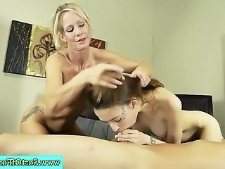 MILF teaching step son how to suck cock